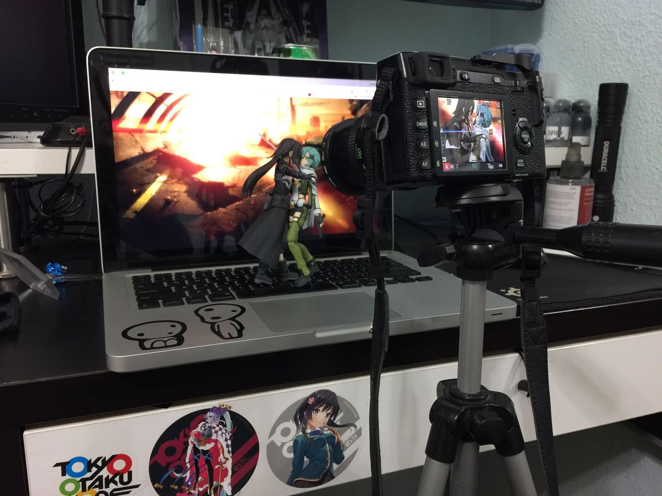 Behind the scenes of my previous photo. Kirito Sinon Ggo Sao SwordArtOnline Figma Good Smile Company Max Factory Fujifilm Xe1 Mbp