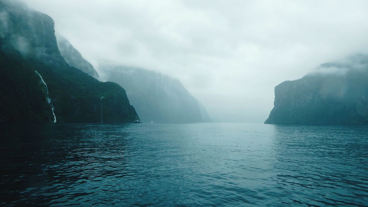 Far over the misty mountains cold - Milford Sound Milford Sound New Zealand New Zealand Scenery Mountains Fjord Fjords Nature Nature_collection Landscape_Collection Landscape EyeEm X WhiteWall: Landscapes