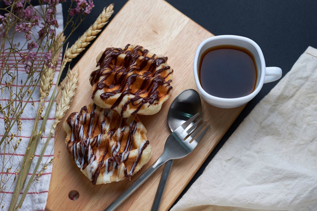 Baked Black Coffee Day Drink Food Food And Drink French Food Freshness Healthy Eating High Angle View Indoors  Meal No People Ready-to-eat Refreshment Serving Tray Sweet Food Table Waffle