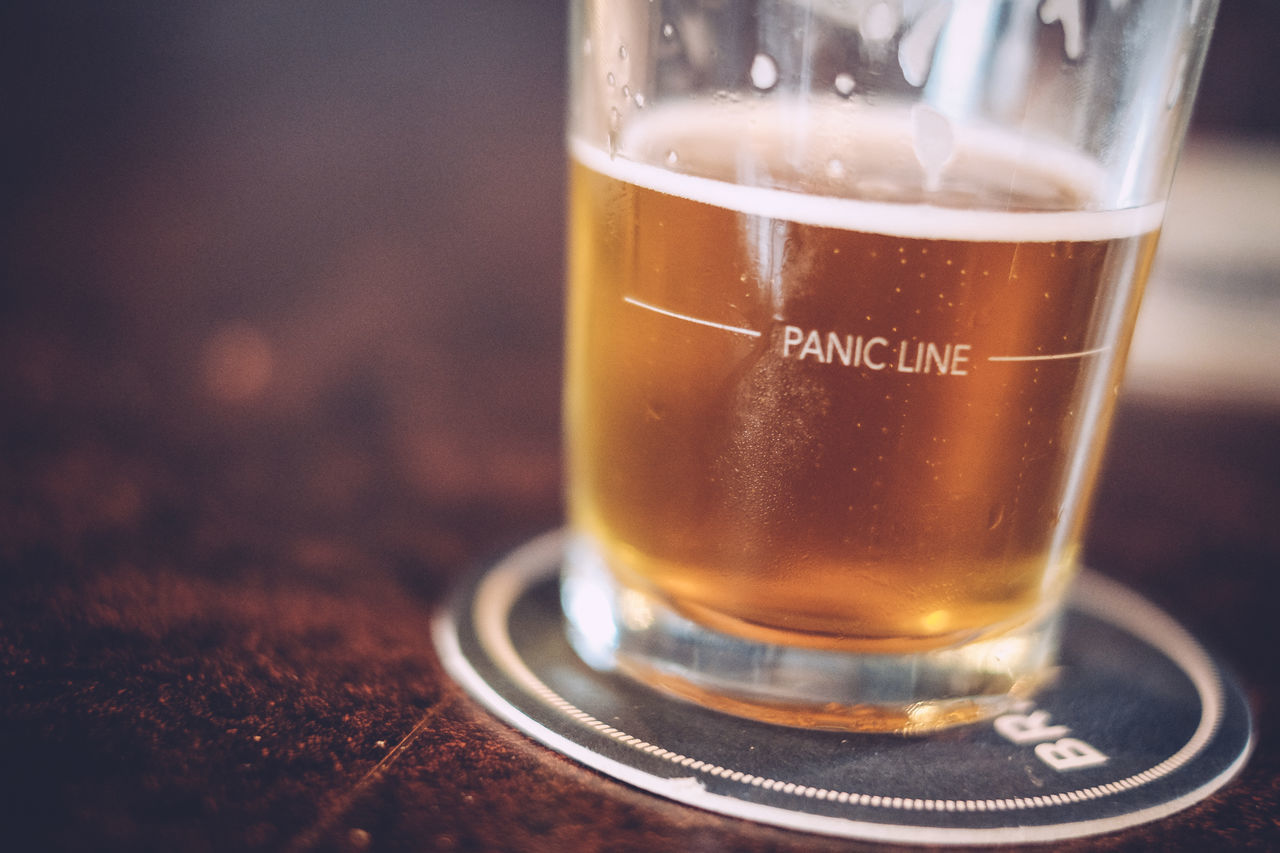 Almostempty Bar Beer Close Up Coaster Low Angle View Panic Line Wooden