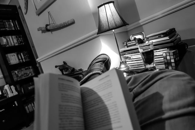 Blackandwhite Indoors  Check This Out Relaxing Books Reading Reading A Book Light Source Artificial Light Lamps Lampshade My Favorite Place