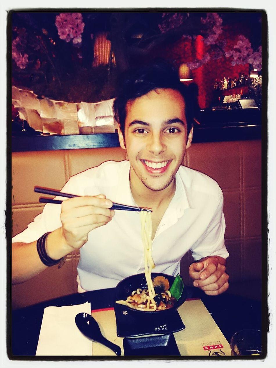 Udon Noodles Eating