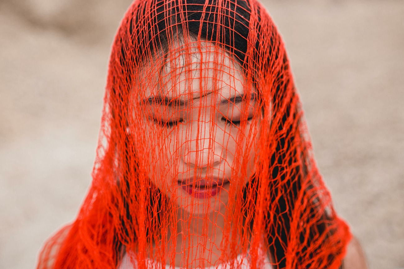 Is there no way out of the mind? One Woman Only Women Of EyeEm Portrait Of A Woman Portrait Photography Portrait Of A Girl Beautiful People Natural Light Portrait Portraits Of EyeEm Red Net Outdoors Women Around The World Women