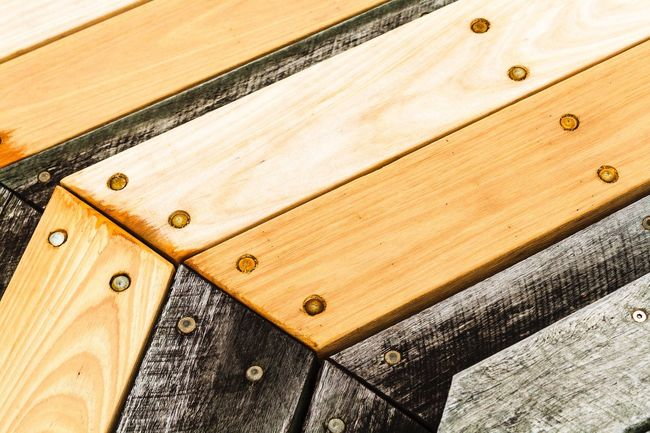 Deck Wood Deck Wood Grain Wood Pattern Patterned Wood Textures And Surfaces Textured  Close Up Metal Bolts Bolts And Screws Metal Screws Hidden Depth Looking Down Boardwalk Unnoticed Art Weathered Wood Weathered High Clarity