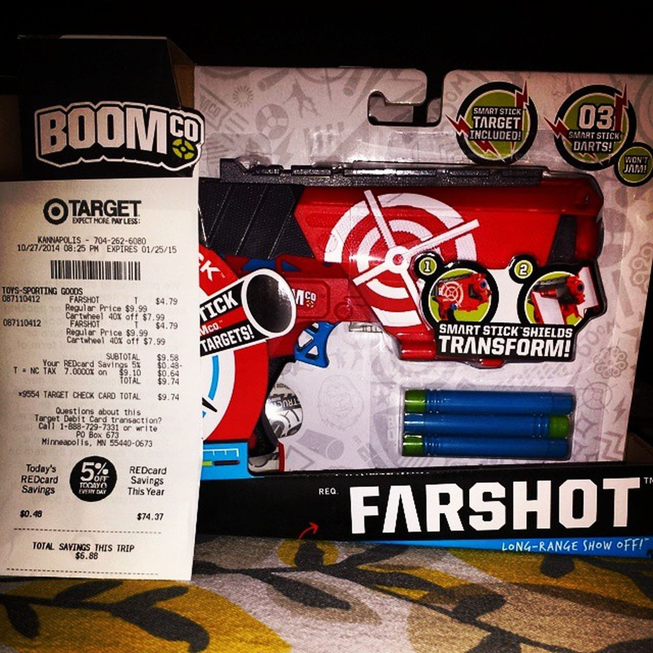 Great deal at Target that ends tomorrow. Buy two Boomco Farshot guns at $9.99 and pm to Amazon for $7.99 then use Targetcartwheel Cartwheel which takes 40% off both. The total with RedCard is $9.74! That's less than the price of 1. Savvyshopper Earlychristmasshopping Dealseeker