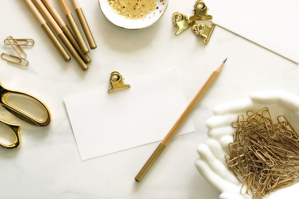 Notes Chic Desk Top Glamour Gold Colored Letter Writing Notes Office Office Supplies Over Head Table Template