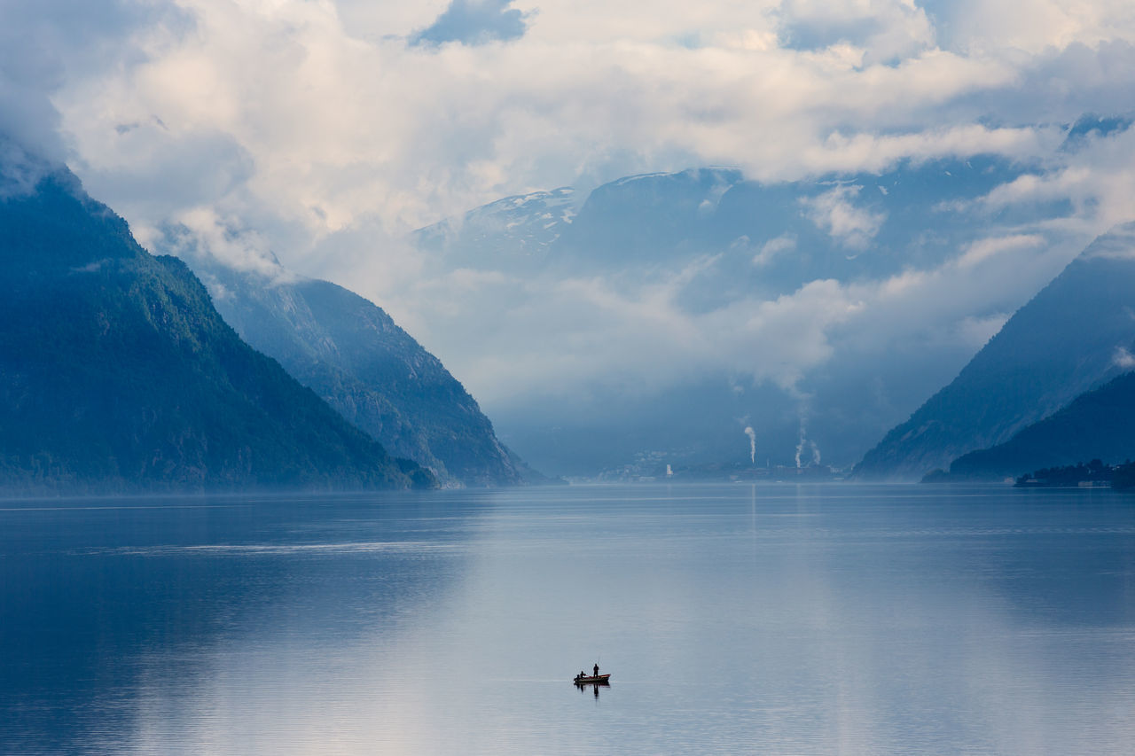Norway Fjord Boat Fishermen Nature Landscape Creative Light And Shadow Clouds And Sky Capture The Moment My Best Photo 2015 Q wie Quiet Landscapes With WhiteWall My Favorite Photo The Great Outdoors - 2016 EyeEm Awards Fishing Leisure Activity Vacation Outdoors Mountains Fog Folgefonna Sørfjorden