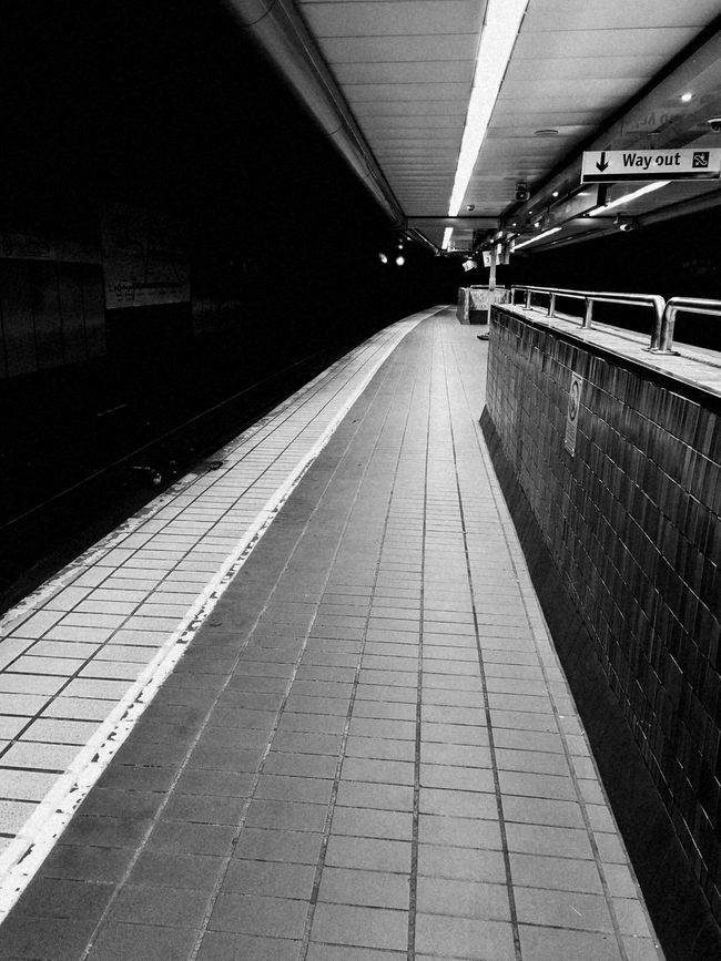 Transportation No People Railroad Station Platform Public Transportation Built Structure Architecture The Way Forward Indoors  Day City Quiet Black & White Blackandwhite Photography Train Station Finishedwork Long Day At Work  City Life Cıty Cold Night