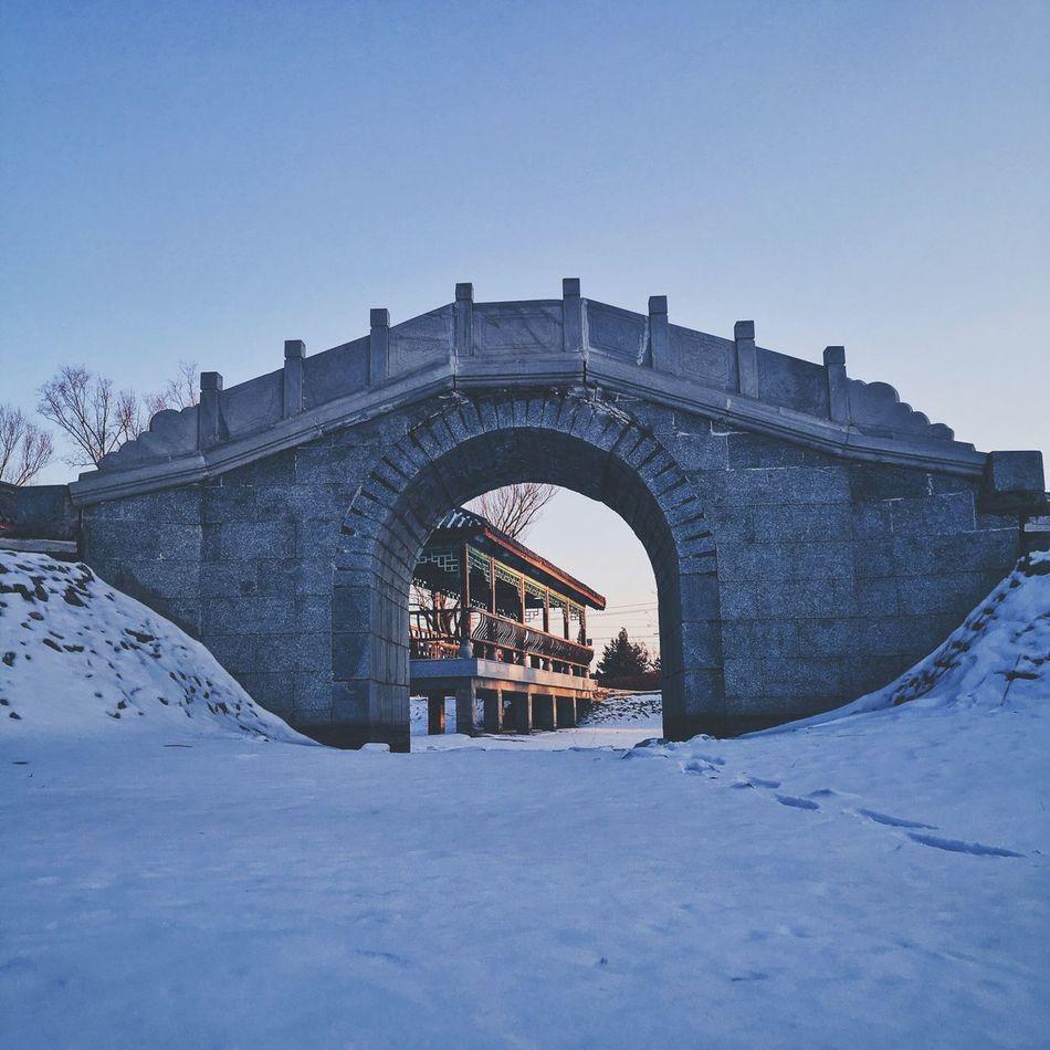 Showcase March Snow Arch Bridge Pavilion