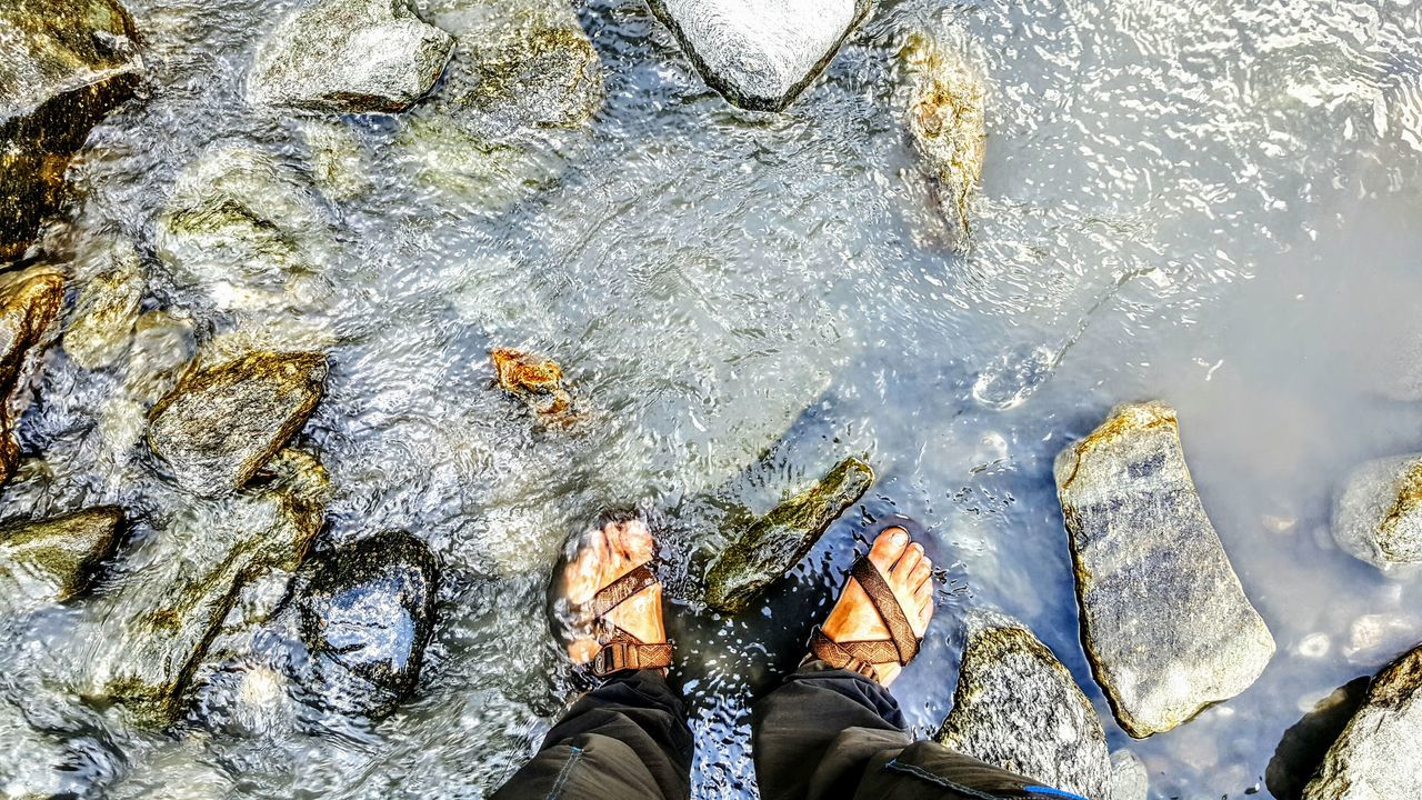 Real People Personal Perspective Outdoors Lifestyles Water Standing One Person New Frontiers Pioneers France🇫🇷 Finding New Frontiers 2016 Creekside Trail Hiking Adventures Tranquility Feet In Water Chacos Chilling ✌ Peace And Quiet