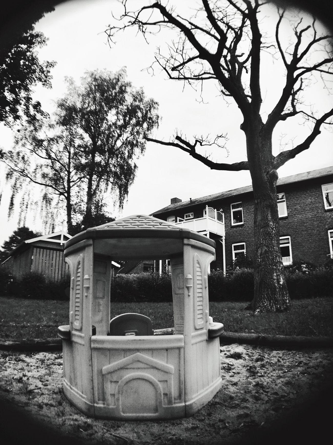 Built Structure Wide Angle Iphonese aBare Tree uOutdoors oNo People rTree aNature lPlayground aSandbox iKids House