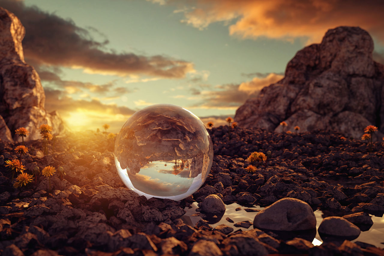 glass ball in front of wonderful sunset Beautiful Nature Beauty In Nature Close-up Crystal Ball Evening Glass Mountain Nature No People Outdoors Puddle Reflection Rock - Object Rocky Scenics Sunset Tranquility