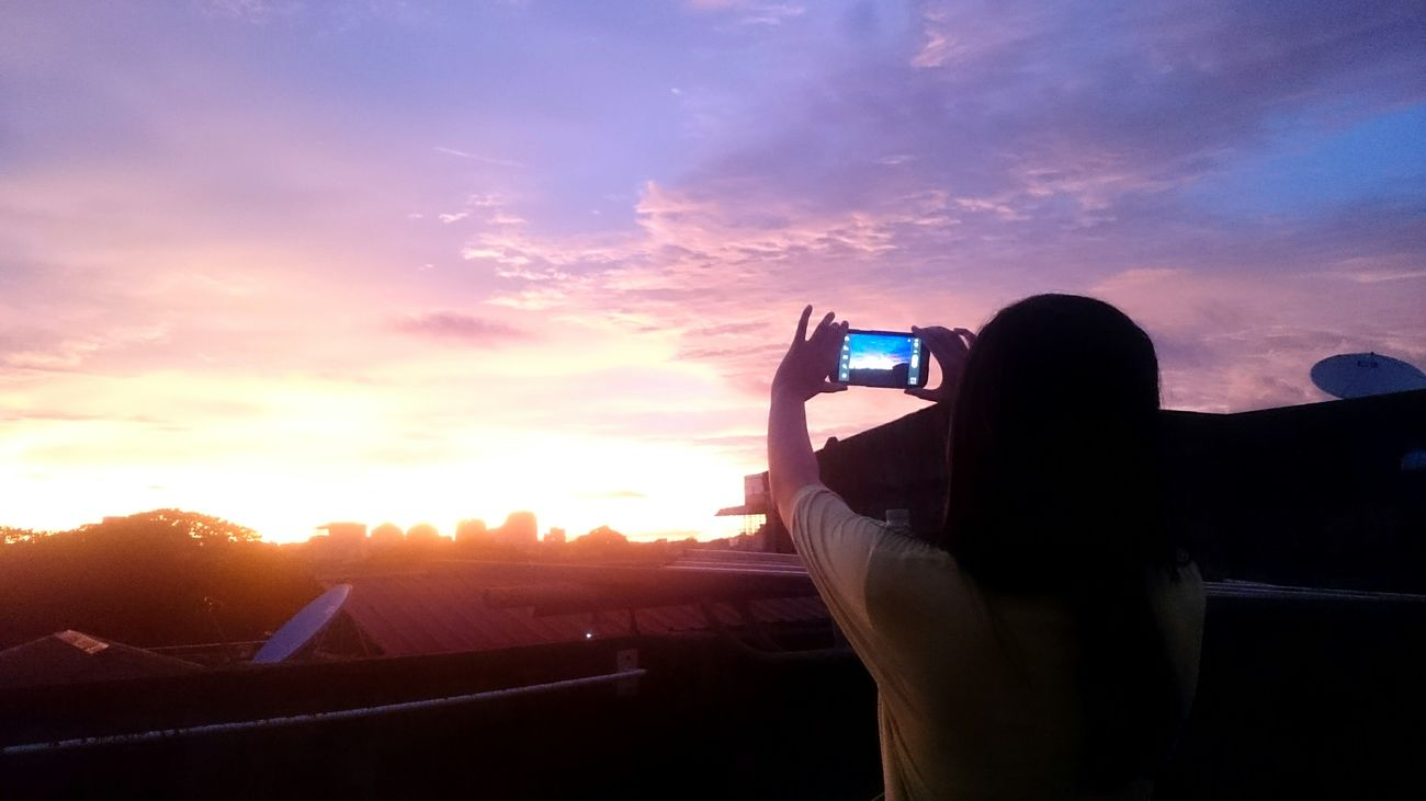 Showcase July Taking Photos Young Girl With Smart Phone Sunset Sky Sky And Clouds Sky_collection Nature Photography Sunset Silhouettes Sunset_collection in Yangon, Myanmar
