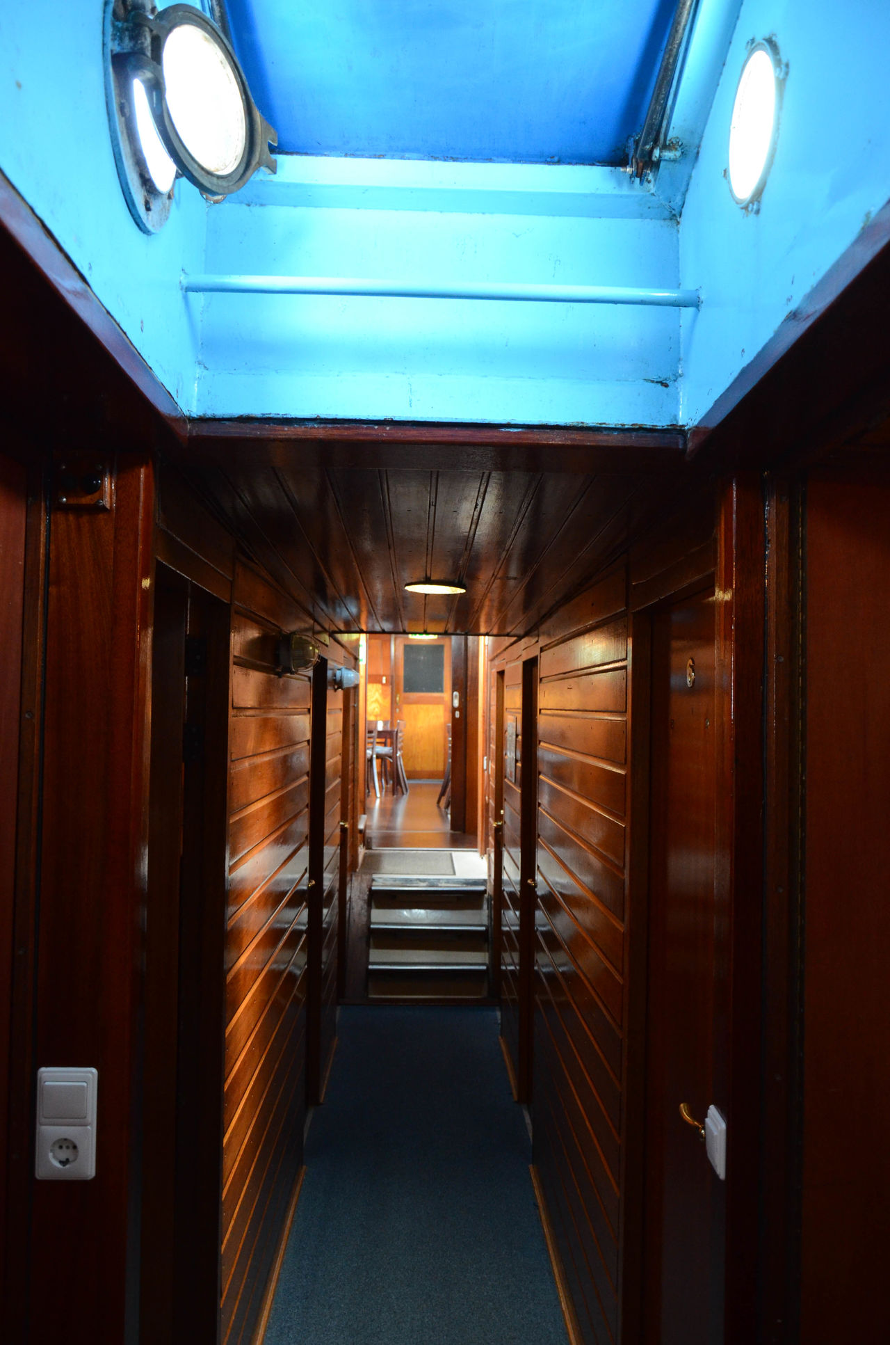 Stayed at this boat hotel. Boat Corridor Hotel Interior Narrow Narrowboat Narrowpath Window Wood Circular Window