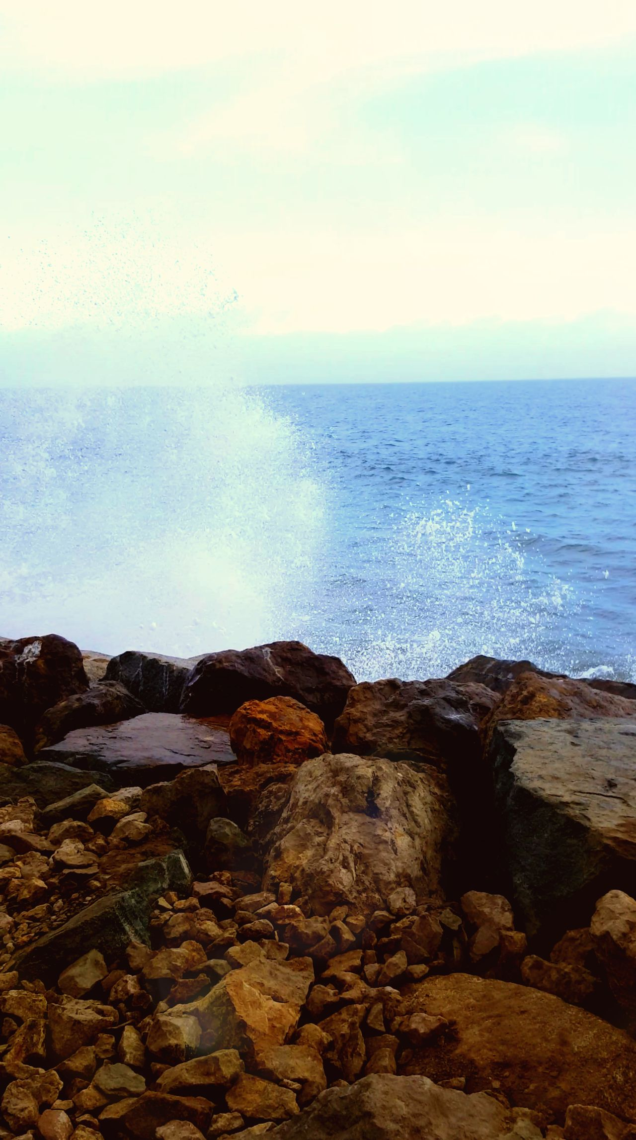 Ocean Wawes Rocks Santa Monica Santa Monica Beach Pasificocean Blu Oceans Splashing California