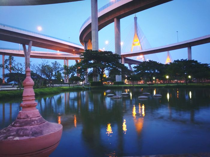 City Bridge - Man Made Structure Night Tree Water First Eyeem Photo