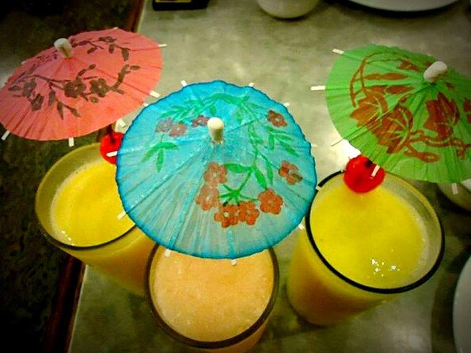 Drinks Fruit Shake Restaurant Little Umbrellas Umbrellas Pink Blue Green Yellow Colors