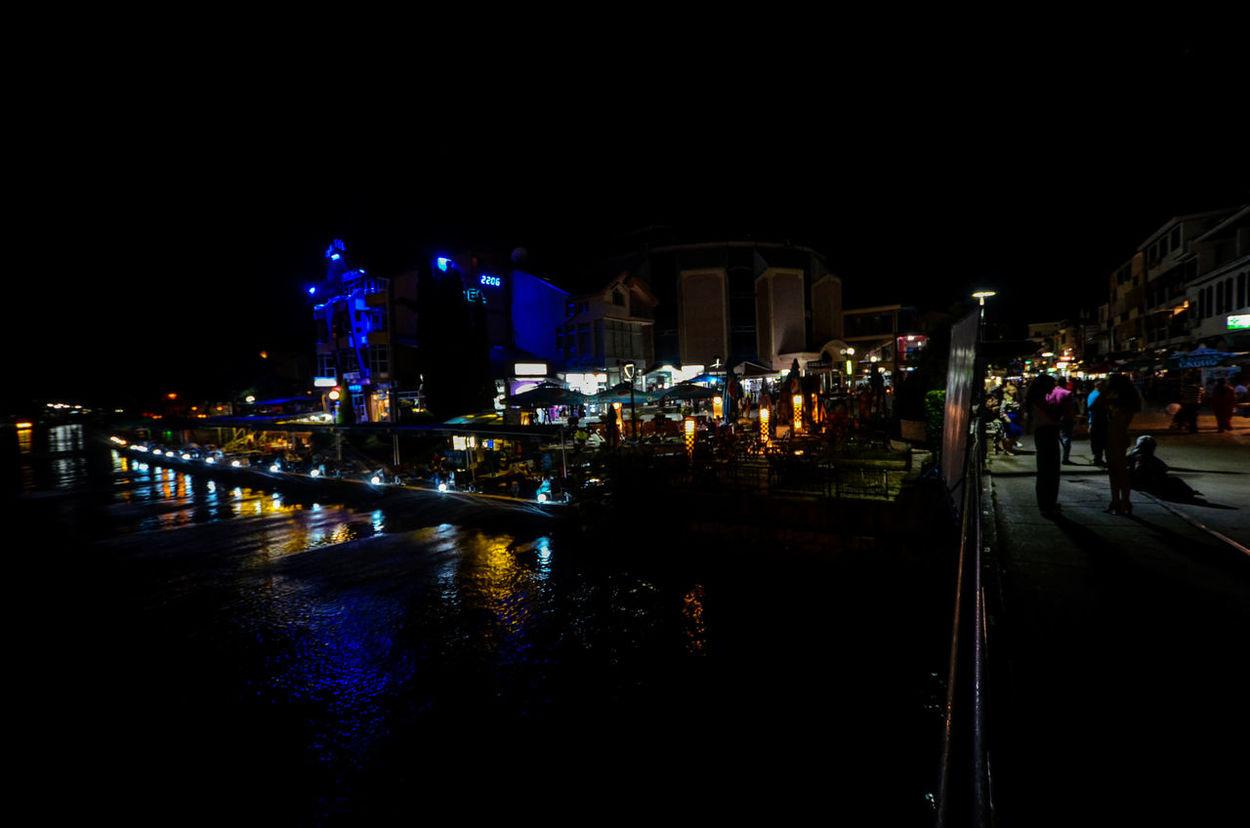 struga,macedonia Architecture City City City Lights Drim River Illuminated Lake Ohrid Macedonia Night Outdoors Reflections On The Water River River Drim Struga