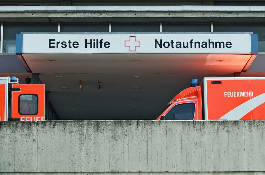 two ambulance cars in front of emergency department in Berlin ©alexander h. schulz Ambulance Ambulance Car Berlin Building Exterior Cars Communication Cross Day Emergency Erste Hilfe Feuerwehr First Aid Germany Guidance Health No People Notaufnahme Outdoors Red Red Cross Text Truck Van