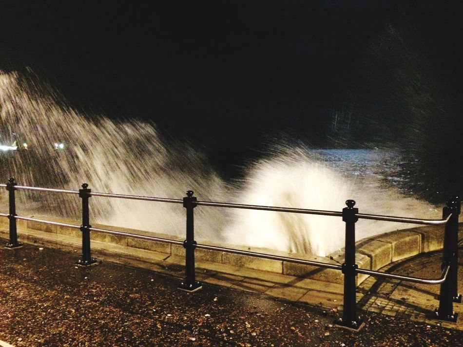 Tidal surge in Lowestoft Night Water Railing Lowestoft Lowest Tide Waves Splashing IPhoneography Iphonephotography IPhone IPhone Photography Iphoneonly