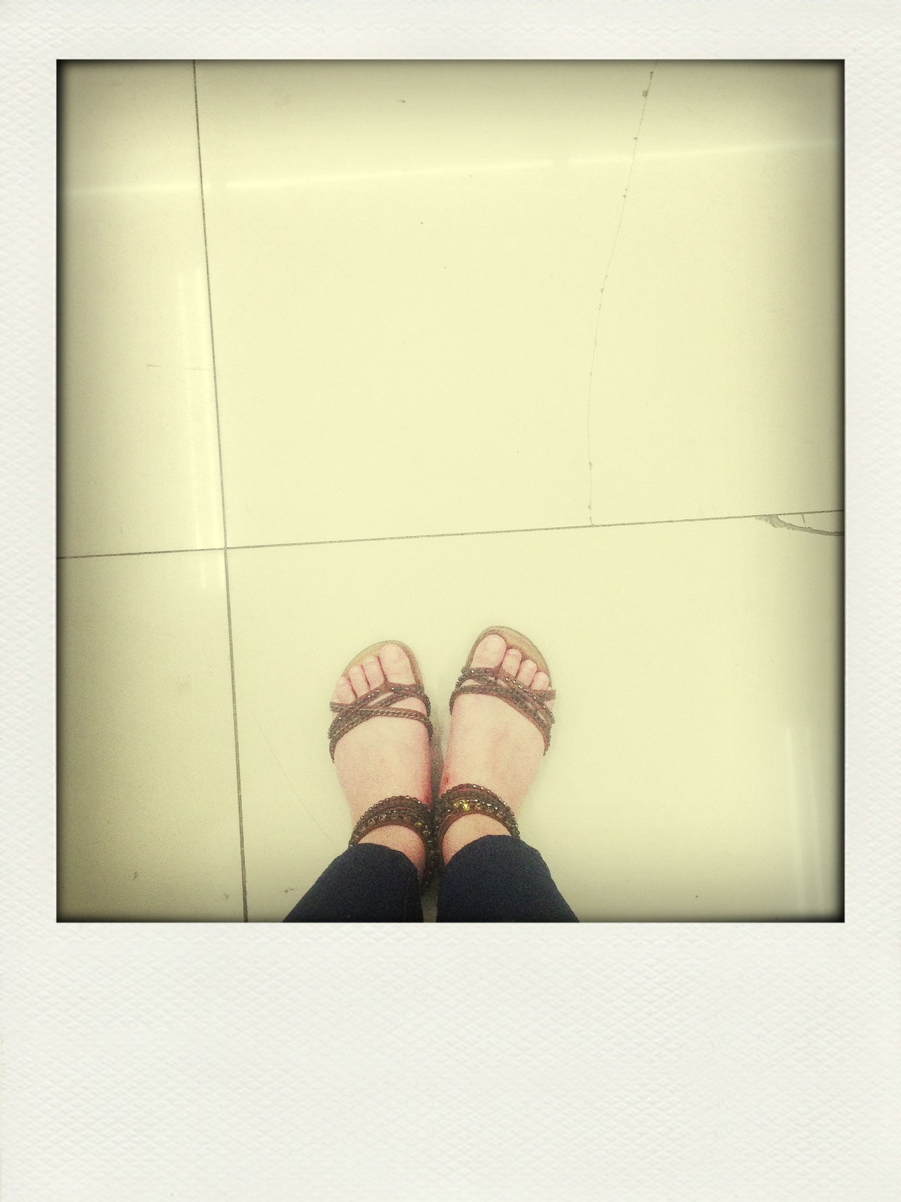 low section, person, shoe, standing, personal perspective, footwear, human foot, tiled floor, indoors, flooring, transfer print, lifestyles, auto post production filter, high angle view, floor, tile, men