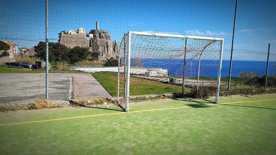 ⚽Sport Day No People Outdoors Sky Soccer Field Architecture Beauty In Nature Horizon Over Water People Tree Drone  Clear Sky Plant Tranquility Landscape Sun Vacations