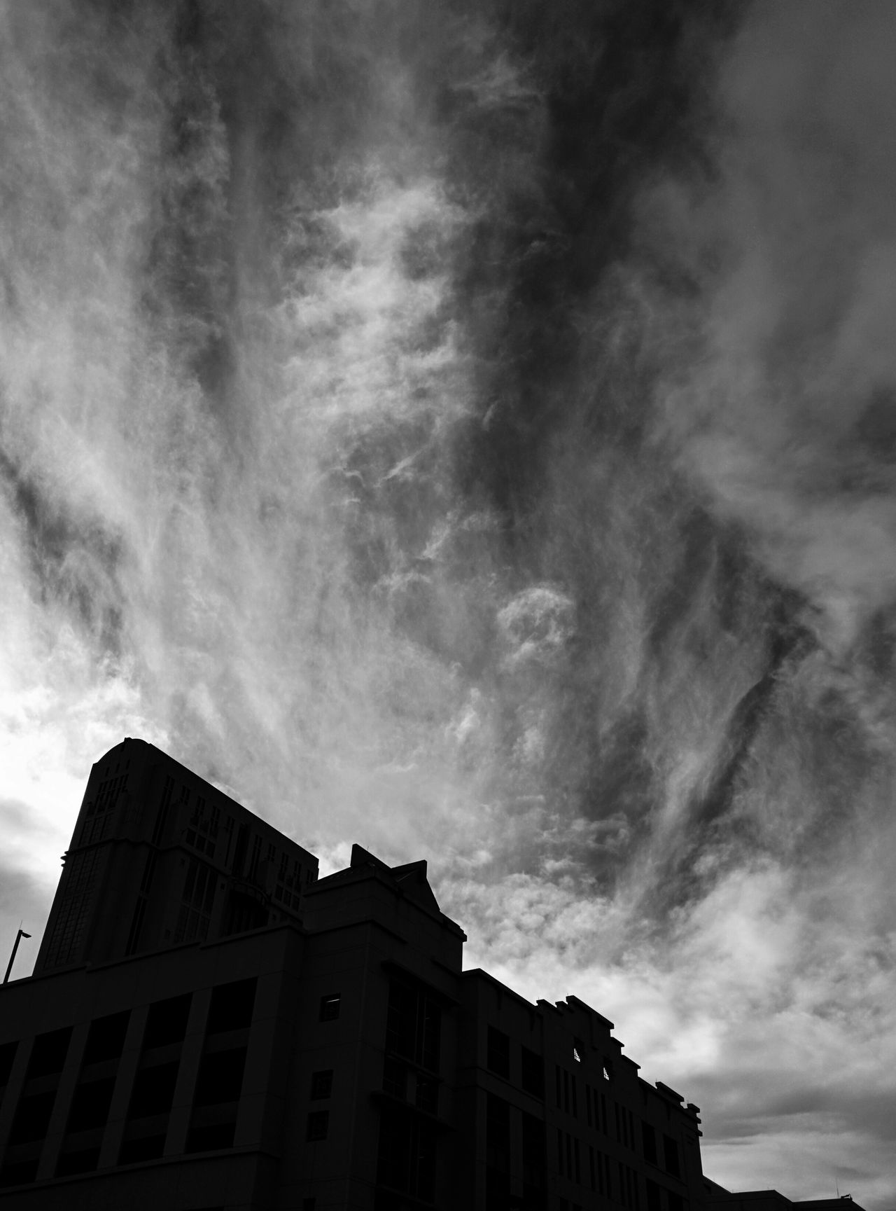 Morning Sky Downtown Architecture Cloud - Sky No People Outdoors Day Sky City Street Architecture Clouds Leonidas Tall - High Low Angle View City Life Silhouette Urban Skyline Built Structure Dark Black Background Building Exterior
