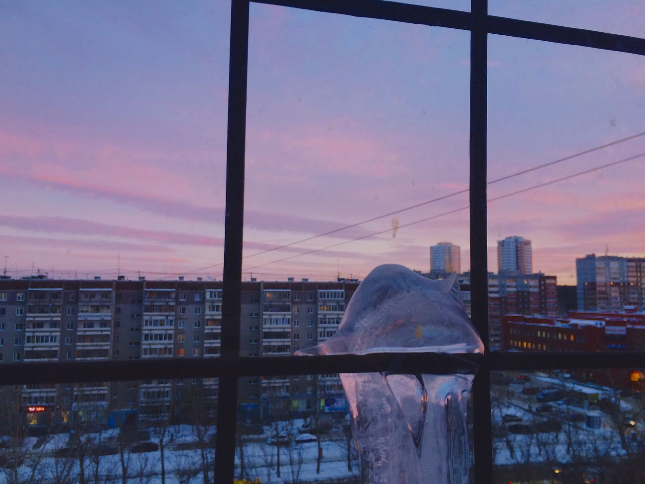Building Exterior City Sky Reflection Built Structure Architecture Cityscape No People Outdoors Water Nature Weather Frozenwater Pinksky