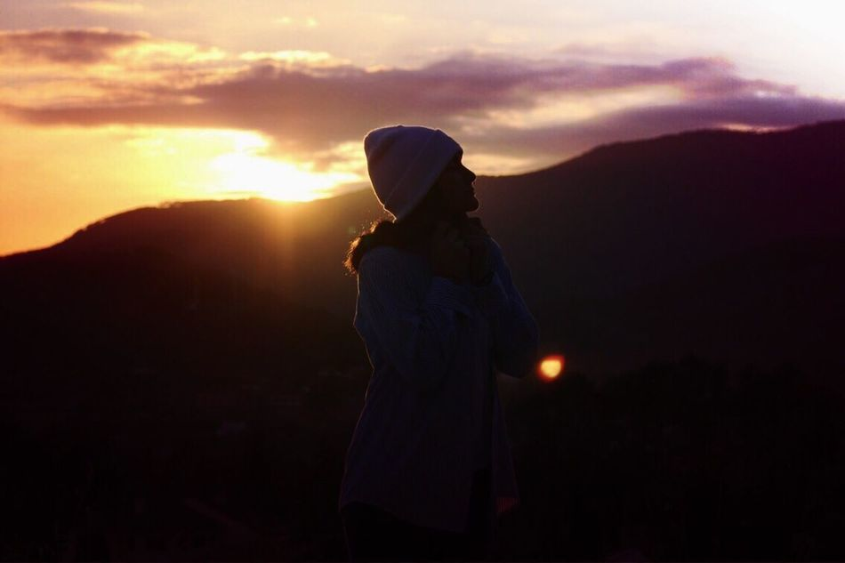 EDGES Sunset Sky Silhouette One Person Mountain Standing Real People Nature Outdoors Beauty In Nature Women Lifestyles Landscape Day People Neon