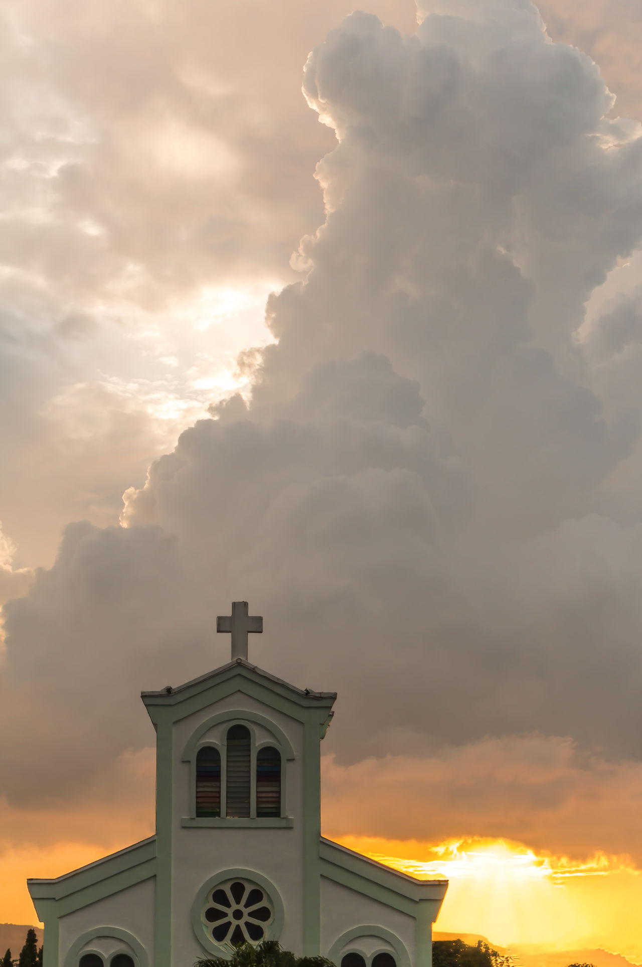 Classical church with sunset Antique Architecture Background Building Cathedral Catholic Chapel Christian Christianity Christus Church Classic Clouds Colorful Cross Faith God Harmony Heaven Historic Holy Jesus Landscape Religion Sunset