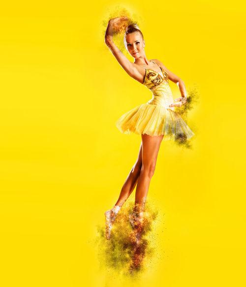 Altered Art ArtWork Ballerina Ballet Dancer Ballet Tutu Beautiful Woman Blaze Creative Dancer Digital Art Digitally Generated Effect Female Fire Flame Graceful Graphic Heat Model People Pirouette Pose Woman Yellow Background