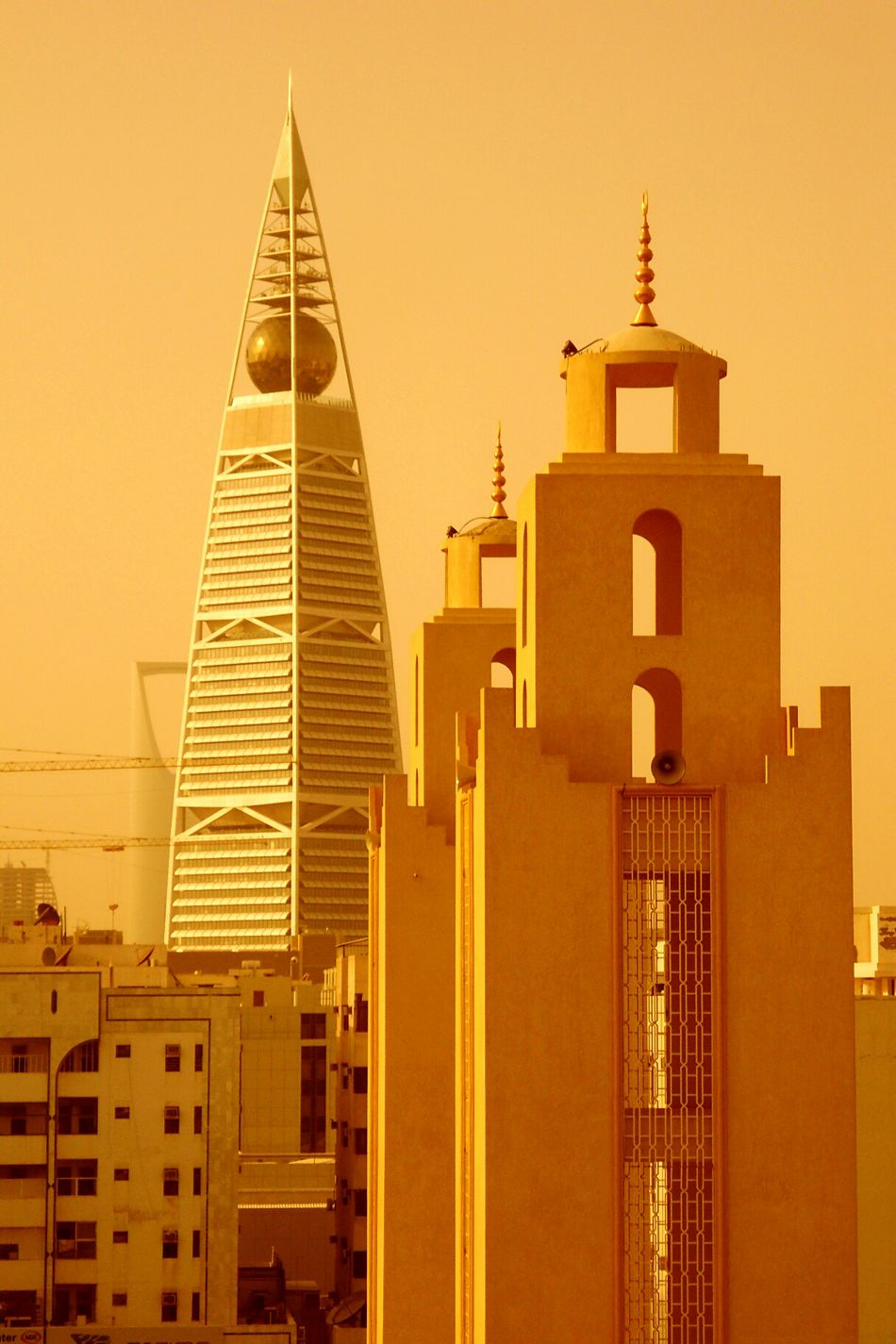 Sunset Tower Architecture No People City Skyscraper Orange Color Sand Dust In The Wind Dusty Ryadh Riad Saudi Arabia