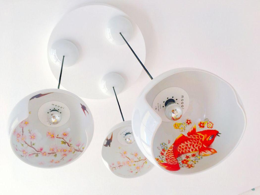 Light Fitting Interior Decorating Interior Design Asian Design Stylish Koi Carp Colourful Luxury Living