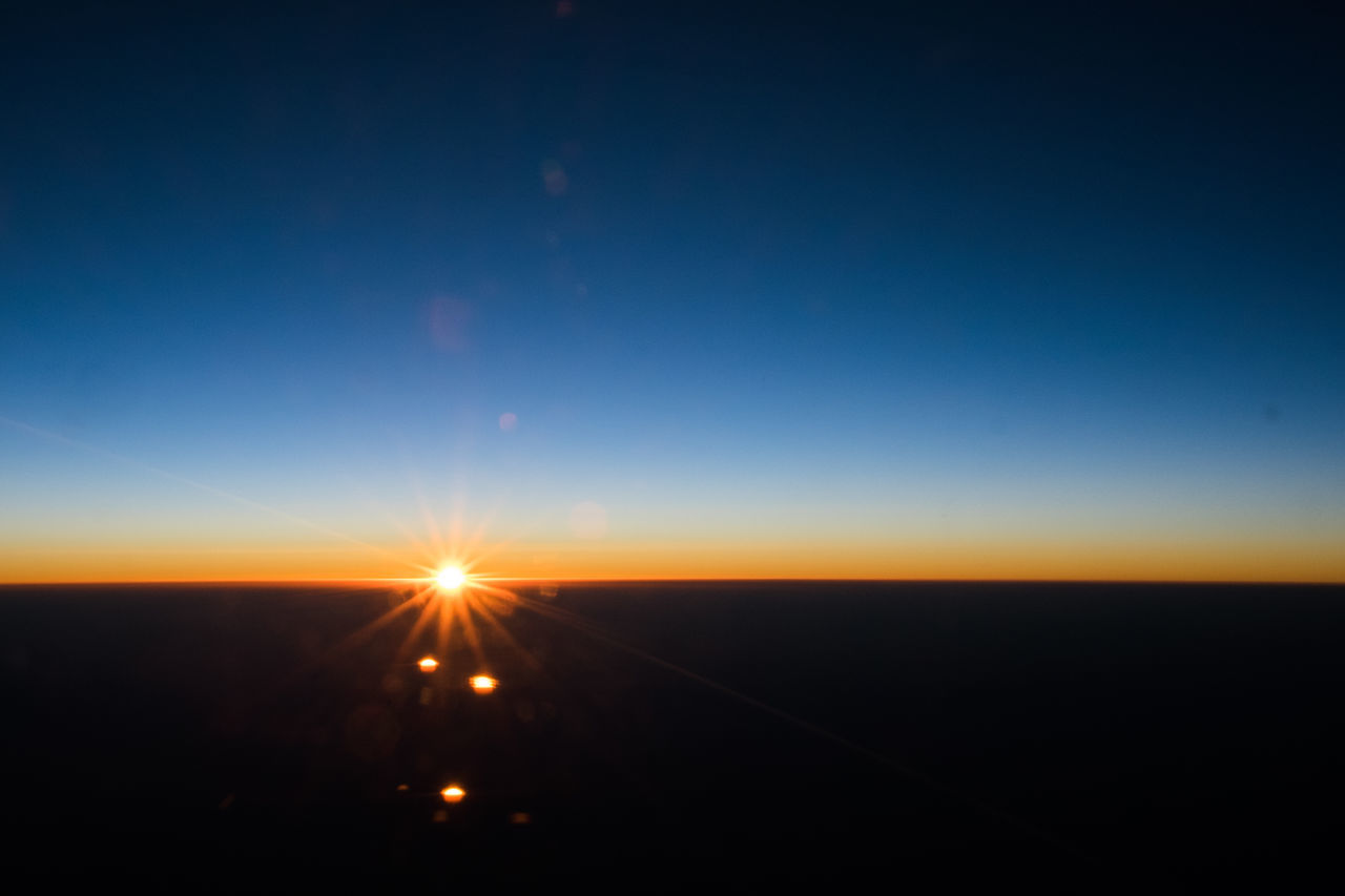 10,000 feet sunrise Airplane Astronomy Beauty In Nature Blue Blue Sky Clear Sky Field Landscape Nature Night No People Outdoors Scenics Sky Sunrise Sunset Tranquil Scene Tranquility