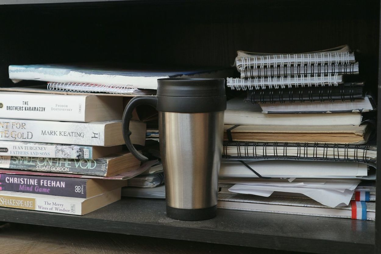 Still Life Books Studying Thermos Mug Cup Metallic Metal Paper Paperbacks Reading Read Fantasy Philosophy Art Pivotal Ideas