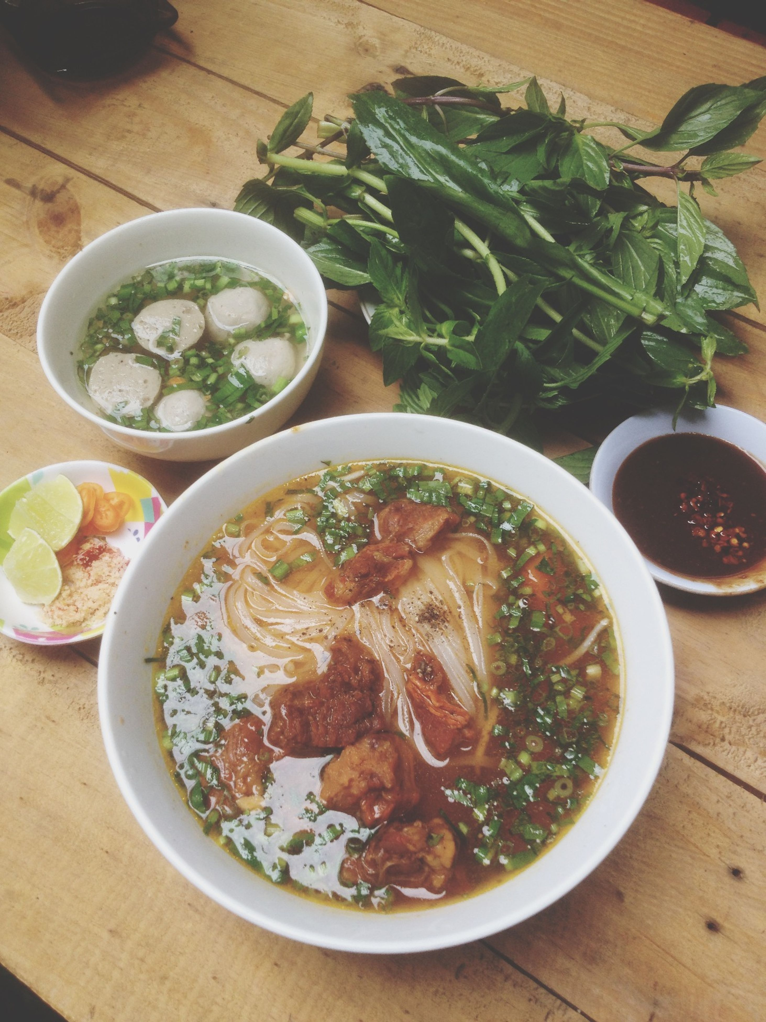 food and drink, food, table, freshness, indoors, ready-to-eat, plate, healthy eating, bowl, serving size, meal, still life, high angle view, served, soup, noodles, salad, directly above, close-up, vegetable