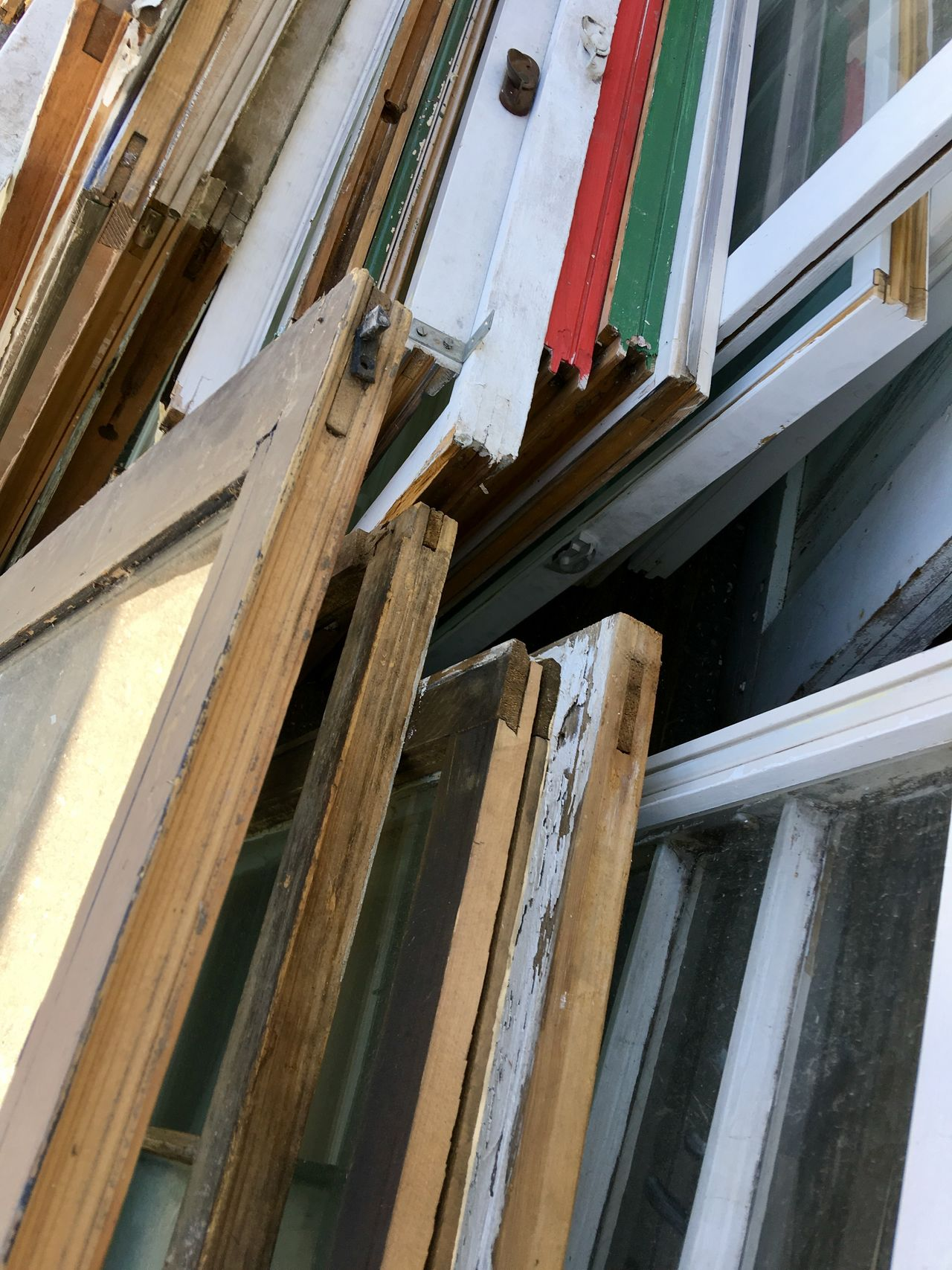 Day Indoors  Low Angle View No People Old Windows Windows Wood - Material