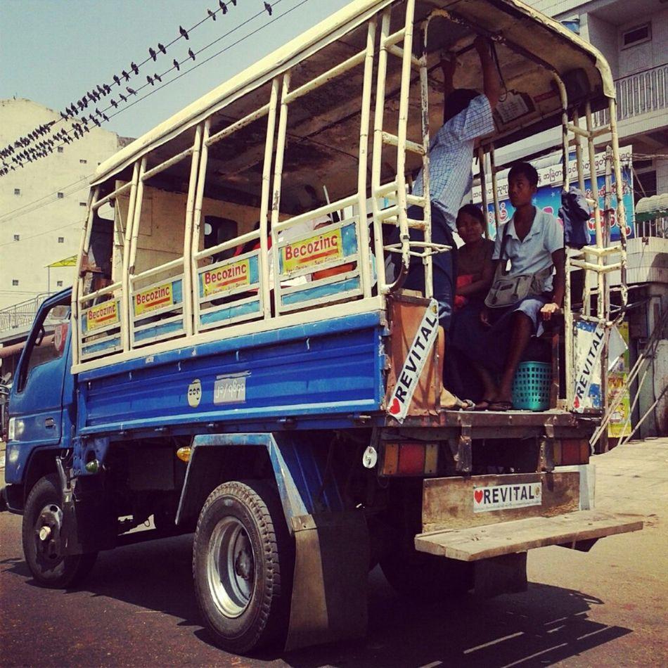 Trucks are used as Public transport, Yangon, Myanmar Street Photography Street Life