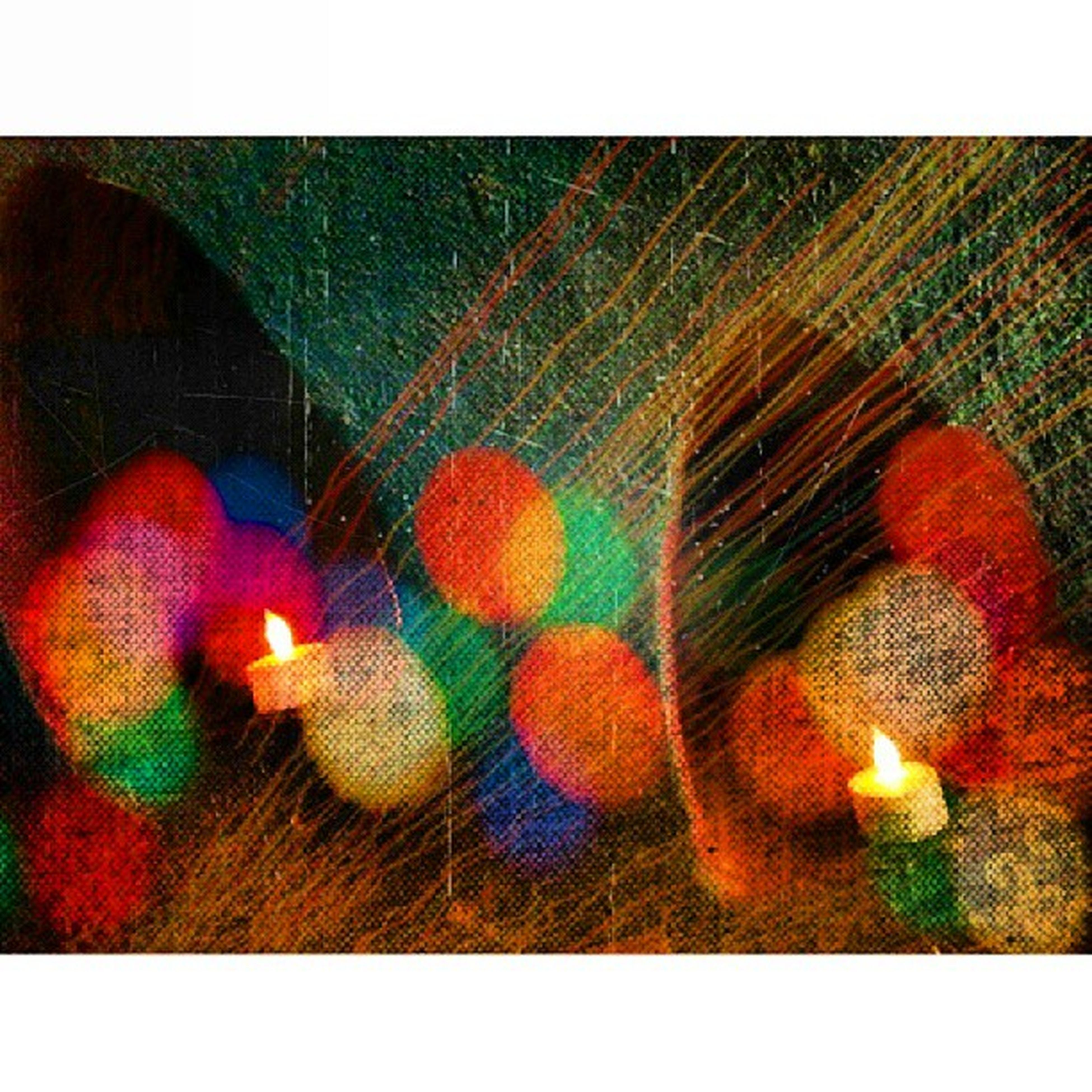 transfer print, auto post production filter, indoors, close-up, illuminated, hanging, decoration, no people, wall - building feature, red, multi colored, orange color, pattern, night, light - natural phenomenon, celebration, reflection, still life, arts culture and entertainment, lighting equipment