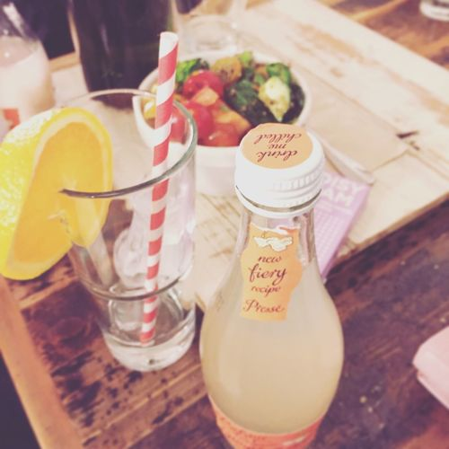 Pastel Power Food Photography Healthy Food Rustic Paper Straw Empty Glass Ginger Beer Orange Slice Salad London Lifestyle Pastel Colors