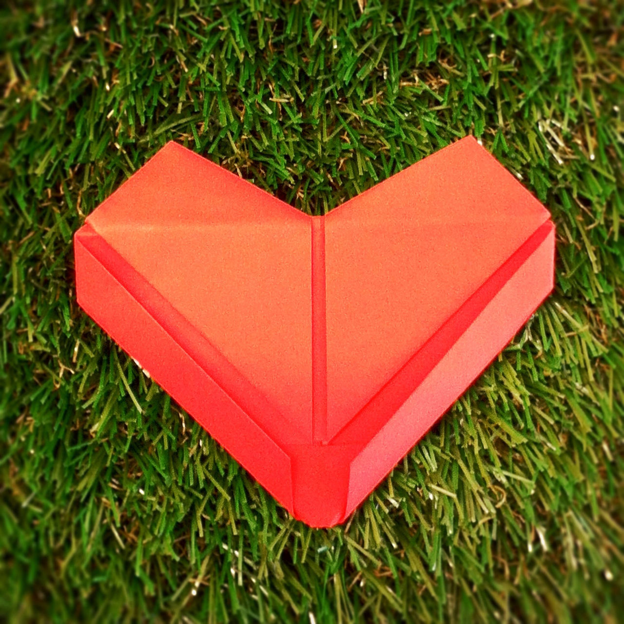 High Angle View Of Red Heart Shape Box On Grassy Field