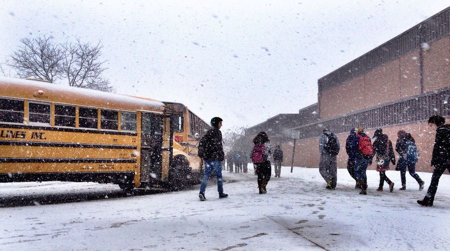 People School Walking Around Winter