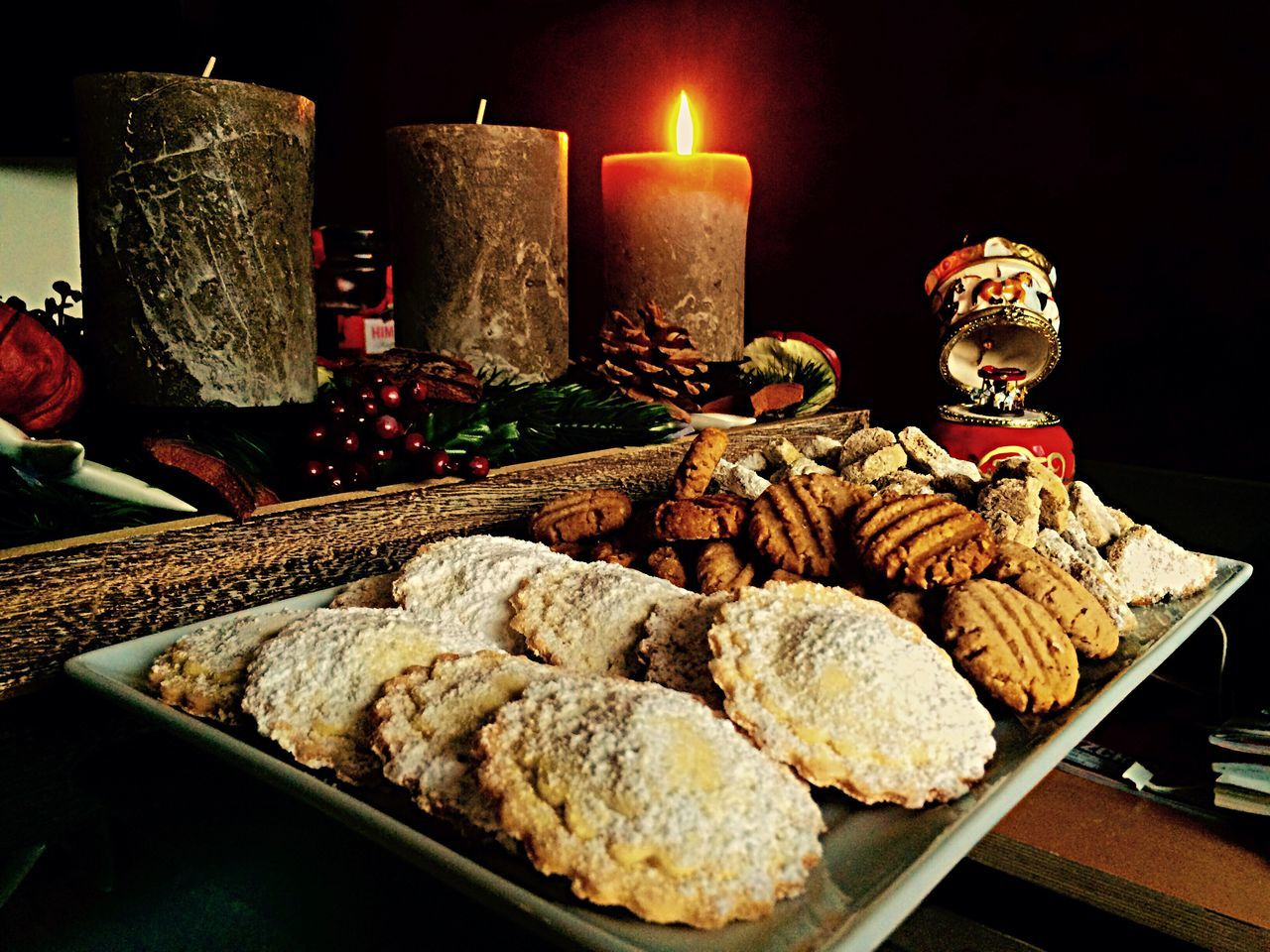 Beautiful stock photos of cookies, Assorted, Biscuit, Black Background, Candle