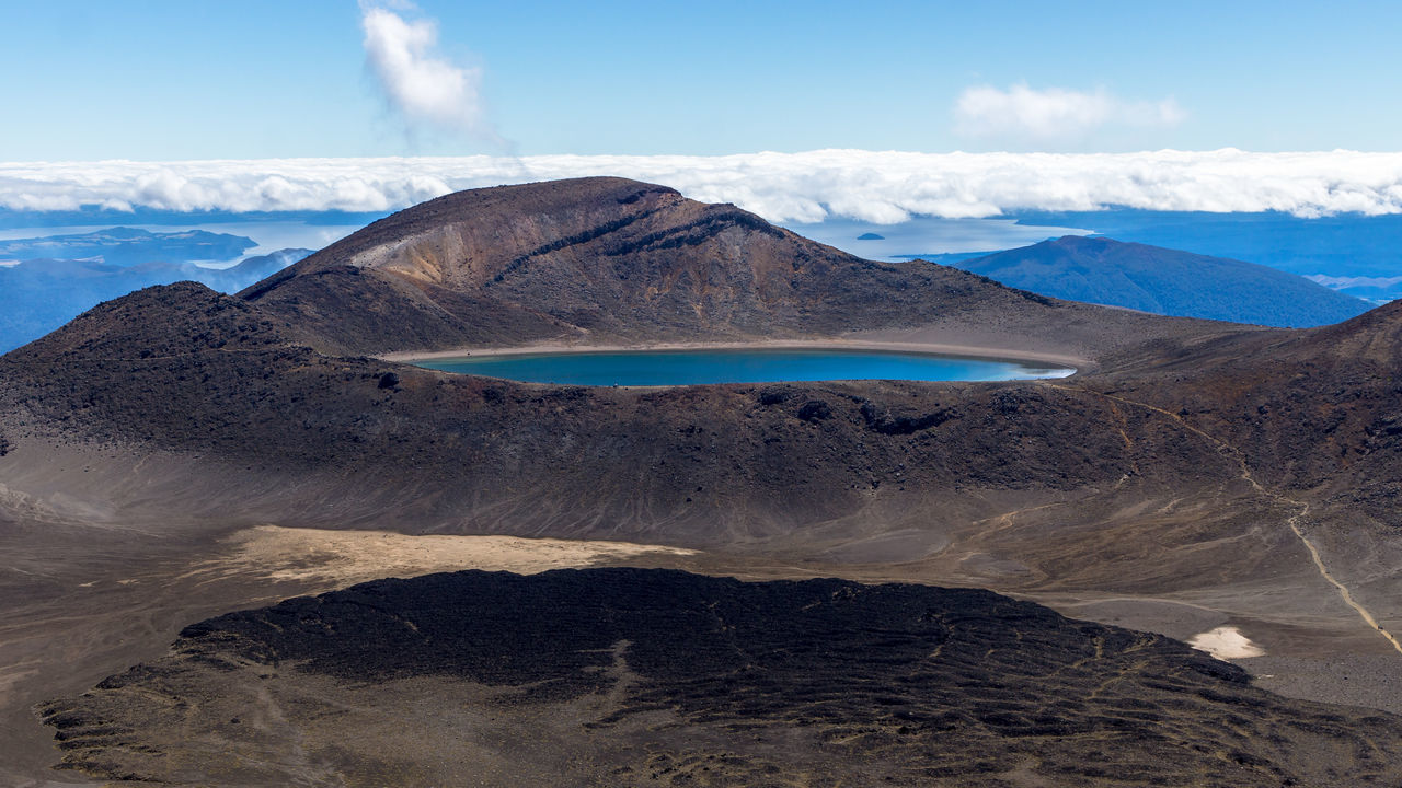 Blue Lake Lake Taupo Ruapehu Tongariro Crossing Tongariro National Park Above Clouds Beauty In Nature Cloud - Sky Day Landscape Lava Mountain Nature New Zealand No People Outdoors Physical Geography Power In Nature Remote Scenics Sea Sky Tranquility Water