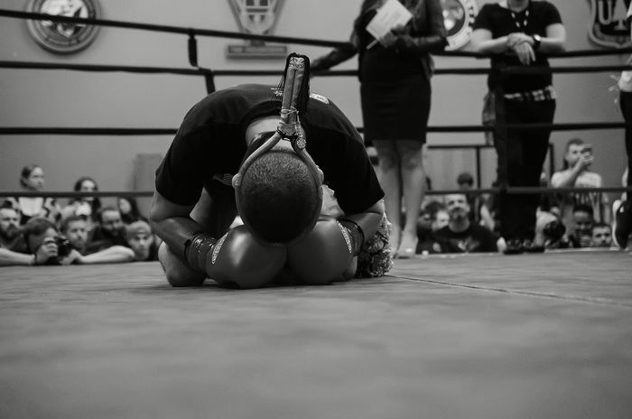 Elite Standup Strikers event in Springfield, Oregon, Feb. 13th 2016, featuring Ming Freeman and Jake Ramsey in the main event fight. Blackandwhite Boxing Composition Focus On Foreground Low Perspective MuayThai Perspective Real People Sports Photography Thaiboxing
