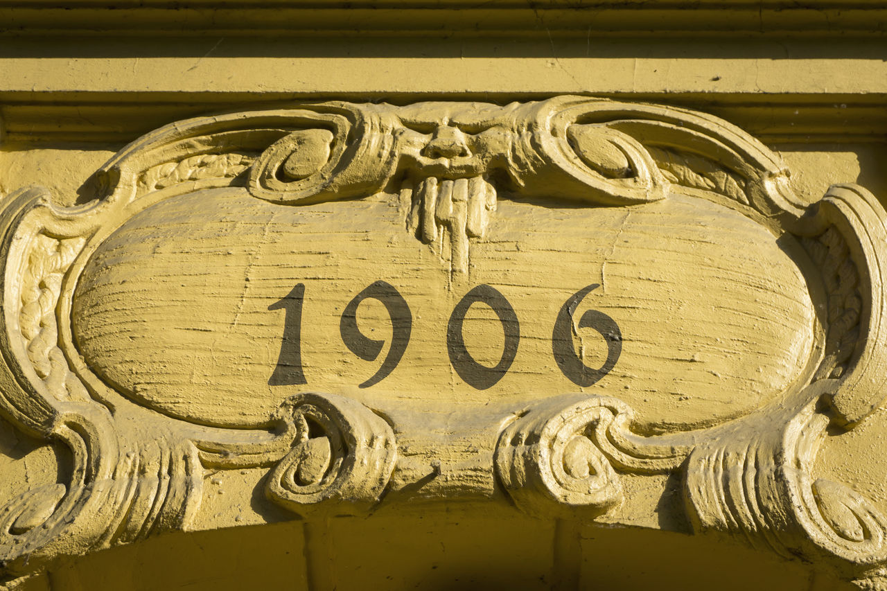 Doorway '1906' Architecture Built Structure Close-up Day Decoration Design Detail Doorway Entrance To Paradise No People Old Buildings Ornate Outdoors Part Of Year Built