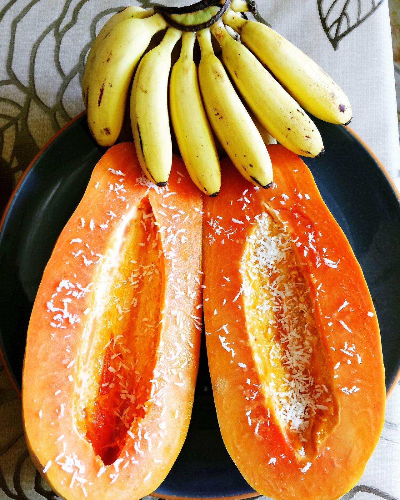 Breakfast Fruit Fruitporn Exotic Fruits Exotic Healthy Healthy Eating Healthy Lifestyle Healthy Food Papaya Baby Bananas Shredded Coconut Plate Of Fruits Hawaiian Fresh Organic Fresh Produce