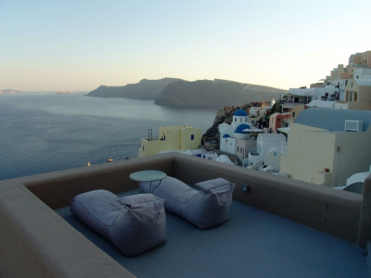 #greece #santorini #sunset Beauty In Nature Clear Sky Sea Tranquil Scene Tranquility