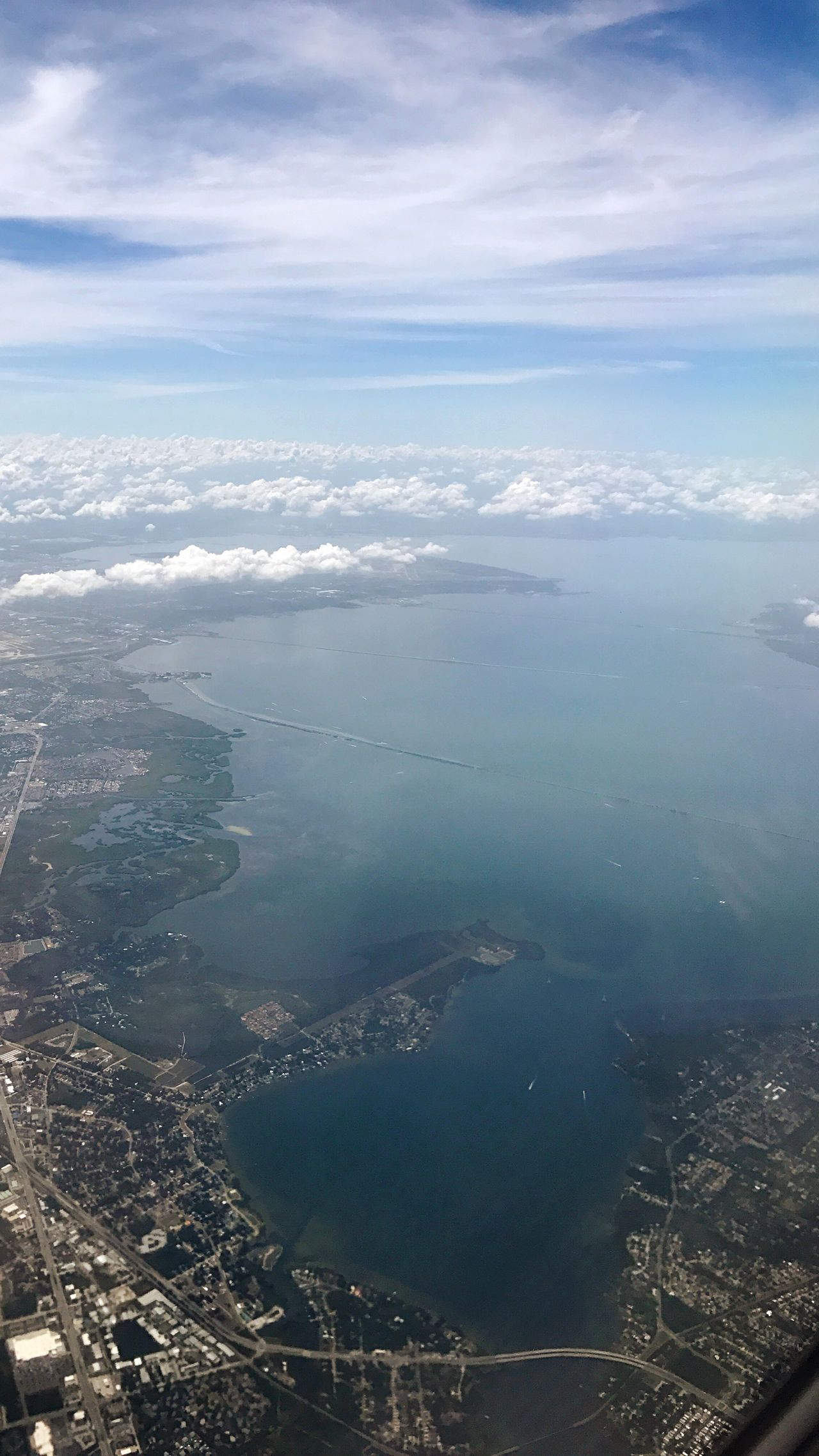 Milehigh Aerial View Sea Water Beauty In Nature Nature Cityscape Scenics Sky Outdoors Day Tranquil Scene Tranquility Landscape City Airplane Horizon Over Water View Into Land Airplane Wing