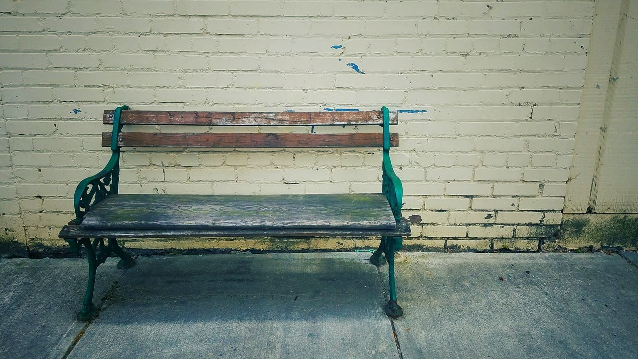 Bench Old Antique Urban Brick Wall Street Sit Down From My Point Of View From My Eyes To Yours Letgodhandleit Sidewalk Wrought Iron Bench Wooden Bench Have A Seat Seat Sit No People Missing Simple Quiet Street Photography EyeEm Diversity The Secret Spaces TCPM Break The Mold